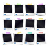 Set of twelve blank photo frames sticked on color duct tape Royalty Free Stock Photo