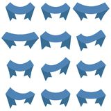 Set of twelve blue ribbons and banners for web design. Great design element isolated on white background. Vector illustration Royalty Free Stock Images