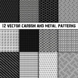 Set of twelve carbon and metal seamless pattern Royalty Free Stock Photography