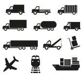 Set of twelve cargo transportation icons Stock Photos