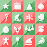 Set of twelve Christmas icons Stock Image