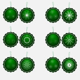 Set of twelve circular green trousers with snowflakes. On a white background Royalty Free Stock Photo