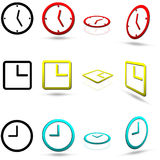 Set of twelve clock icons Royalty Free Stock Photos