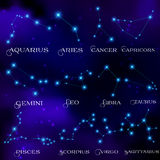 The set of twelve constellations. Constellations  Royalty Free Stock Photo