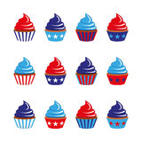 set of twelve cupcakes in blue and red colors Stock Photo