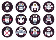 Set of twelve cute flat robots icons Stock Images