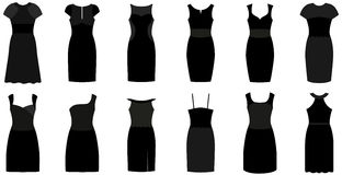 Set of twelve different elegant and expensive cocktail dresses Stock Image