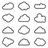 Set of twelve different vector shapes of clouds Stock Photography