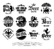 Set of twelve drawings on beer caps Royalty Free Stock Images