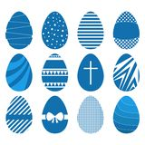 Set of twelve easter eggs in flat geometric style. Blue color Royalty Free Stock Photo