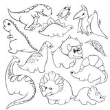 Set of twelve elements funny kind children`s cartoon dinosaurs tyrannosaurus, pterodactyl, diplodocus, triceratops royalty free illustration