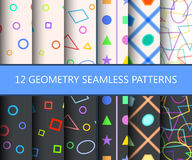 Set of twelve geometry seamless patterns. Usable for web backgrounds and wallpapers. Vector illustration Stock Images