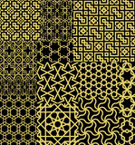 Set Twelve Gold Seamless patterns in Moroccan style Stock Photography