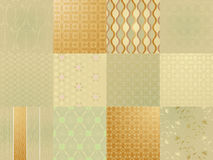 Set of twelve gold seamless patterns Stock Photos