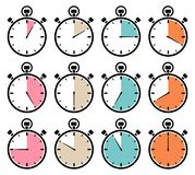 Set Of Twelve Graphic Stopwatches Icons Retro Colors royalty free illustration
