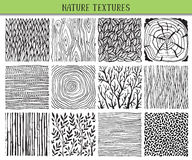 Set of twelve hand drawn ink abstract textures. Royalty Free Stock Image