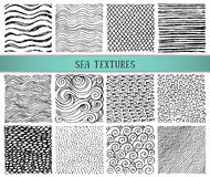 Set of twelve hand drawn ink abstract textures. Royalty Free Stock Images