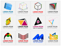 Set of twelve icons for business logos Stock Images