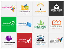 Set of twelve icons for business logos Royalty Free Stock Images