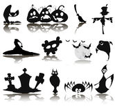 Set of twelve icons for Halloween Stock Images