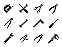 Set of twelve industrial hand tools for construction, engineering, mechanics in black and white colors. Flat style vector illustration vector illustration