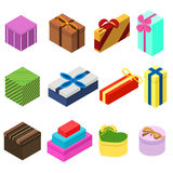 Set of twelve isometric gift boxes. Present for New year Royalty Free Stock Image