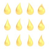 Set of twelve liquid drops isolated Royalty Free Stock Photos