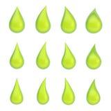 Set of twelve liquid drops isolated Stock Photography