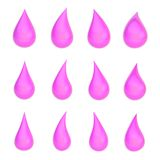 Set of twelve liquid drops isolated Stock Images