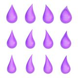 Set of twelve liquid drops isolated Royalty Free Stock Images