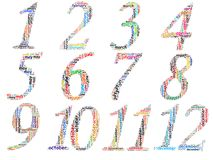 Set of twelve monthly calendars info text graphics Stock Photos