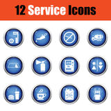 Set of twelve Petrol station icons. Royalty Free Stock Image