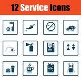 Set of twelve Petrol station icons Stock Images