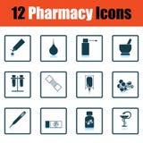 Set of twelve pharmacy icons Stock Photography