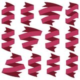 Set of twelve red ribbons and banners for web design Royalty Free Stock Photography