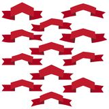 Set of twelve red ribbons and banners for web design Stock Photography