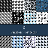 Set of twelve  seamless patterns. Seamless stylish modern geometric backgrounds with repetition of triangles with rounded co Royalty Free Stock Photo