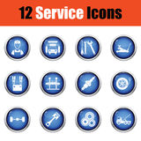 Set of twelve Service station icons. Royalty Free Stock Photos