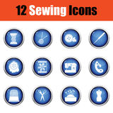 Set of twelve sewing icons. Stock Photos
