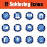 Set of twelve soldering  icons. Stock Photo