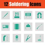 Set of twelve soldering  icons Royalty Free Stock Photography