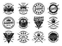 Set of sushi vector emblems. Set of twelve sushi vector emblems, labels, badges, stamps or logos in vintage monochrome style isolated on white background vector illustration