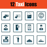 Set of twelve Taxi icons Stock Image