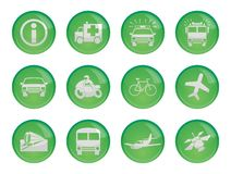 Set of twelve transport green glossy icons Stock Image