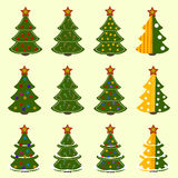 Set of twelve trees. On a yellow background Stock Images