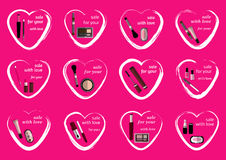 Set of twelve Valentine hearts and cosmetics items for promotions for Valentine`s Day Stock Images