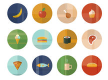 Set of Twelve Vector Food and Drink Icons Stock Image