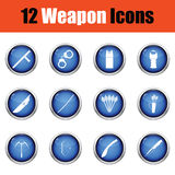Set of twelve weapon icons. Stock Photography