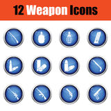 Set of twelve weapon icons. Royalty Free Stock Photos