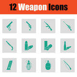 Set of twelve weapon icons Royalty Free Stock Photography